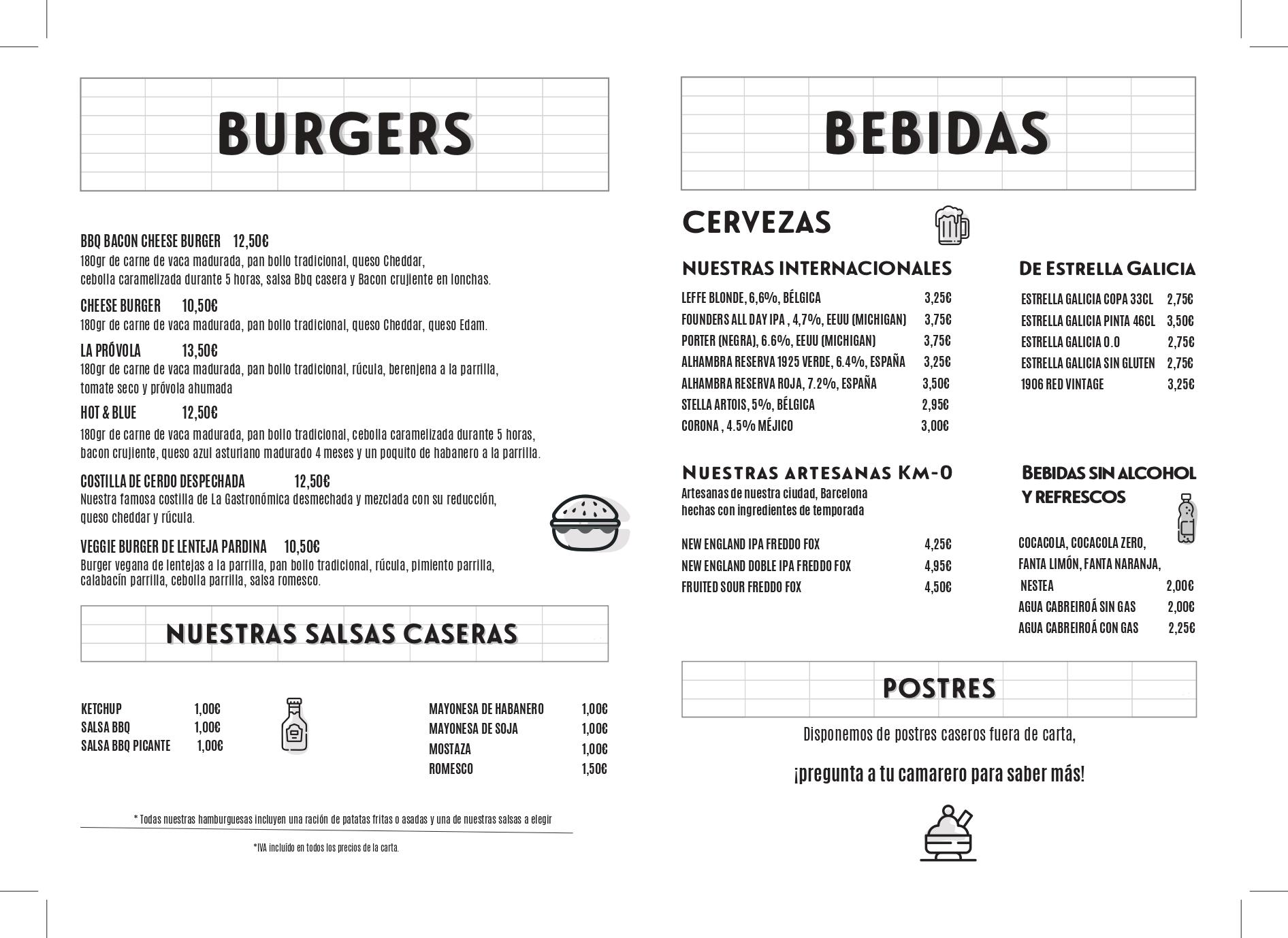 La Gastronomica Burgers carta